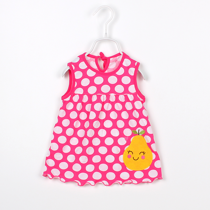 Flower Polka Baby Dresses For Girls Cotton Sleeveless Summer Dresses Newborn Baby Dress Fashion Cartoon Baby Girls Clothing 2018