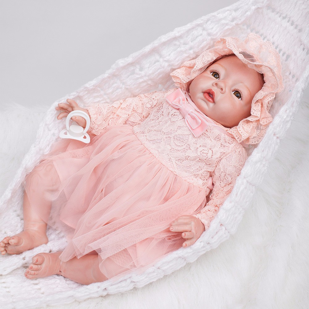 Image 5 - 22 inch Reborn Dolls Little Princess Silicone Baby Realistic Doll Kids Playmates Pink Dress Lifelike Bebe Newborn Dolls 55cm-in Dolls from Toys & Hobbies