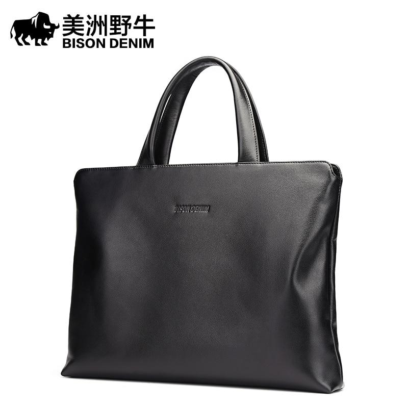 2017 BISON DENIM Brand Handbag Men Briefcase Genuine Leather Shoulder Bags Business Travel Cowhide Tote Bag Men's Messenger Bag bison denim vintage designer 100