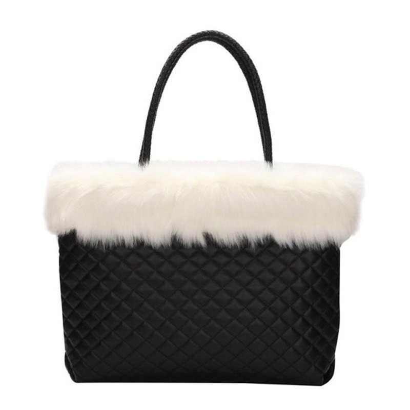 Elegant Fur Plaid Leather Handbags Winter Shoulder Bag Women Large Capacity Totes  Bags 2018 New Design 3c2dadd3ae02d
