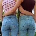 2017 Primavera Calça Jeans da American Apparel Mulheres Femme Denim Calças Skinny de Cintura Alta Calça Jeans Boyfriend Calças Lápis Slim