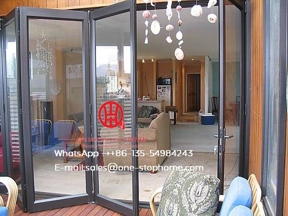 Prefabricated Glass Folding Door With Aluminium Alloy Frame,Residential Fold Sliding Door,Soundproof Insulated Glass Door