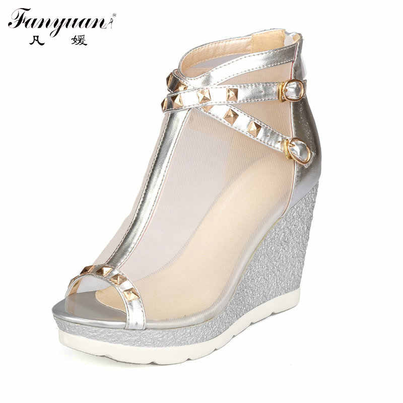 f1905369680 Detail Feedback Questions about 2018 New Sexy Shoes Women Summer Gladiator  Sandals Sexy Mesh T tied Rivets Shoes Ladies Zip High Wedge Platform Sandals  open ...
