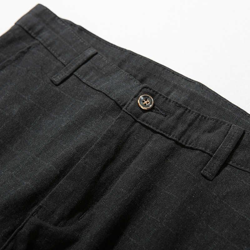Jiantour новые высококачественные мужские штаны из хлопка Прямые Черные Серые Длинные клетчатые мужские повседневные деловые брюки мужские длинные средней длины