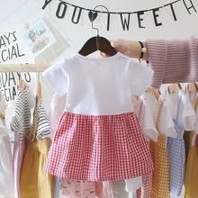 Lato ubranie dla dziewczynki 0-3Y na co dzień maluch noworodka dziewczynek sukienka Plaid imitacja dwuczęściowej Party sukienka urodzinowa dla dziewczynek tanie tanio Krótki REGULAR Śliczne Łuk Pasuje prawda na wymiar weź swój normalny rozmiar A-line cotton Dla dzieci Kolan children dress