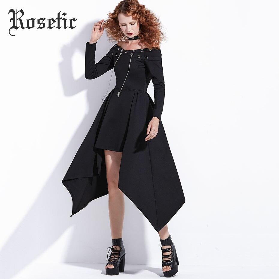 Rosetic gothique robe Punk Rock femmes automne noir asymétrique Steampunk Streetwear mode Sexy Club décontracté Harajuku Goth robe - 3