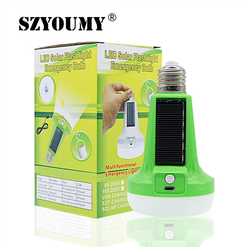 SZYOUMY 12W/18W Portable Solar Powered LED Flashlight Tent Light Bulb Rechargeable Emergency Lamp For Outdoor And Indoor
