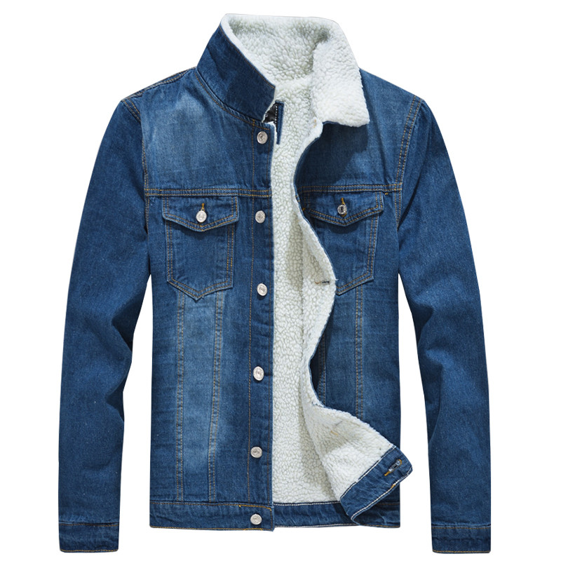 MORUANCLE Men's Winter Warm Denim Jackets And Coats Fleece Lined Thick Thermal Jean Trucker Jacket Outerwear Size M-XXXL