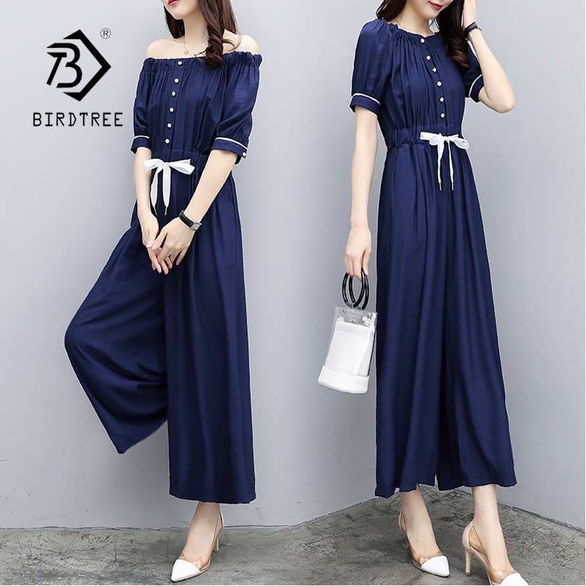 New Arrival Women Solid Blue Off Shoulder Wide Leg High Waist Jumpsuit Lady Sexy Ankle-Length Pants Female 5XL Plus Size S87210F