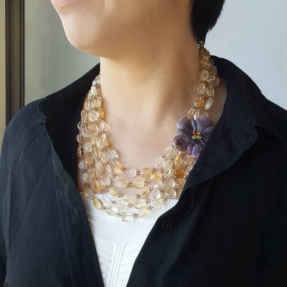 Lii Ji Natural Citrine Amethyst Flower Shell Toggle Clasp Necklace Hand Made Knitting Jewelry For Women