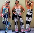 Women Chest wrapped Floral Printed palazzo Jumpsuit Loose Exuma Preppy Rompers Sexy 016 Summer Long Playsuits Wide Leg Pants 2XL