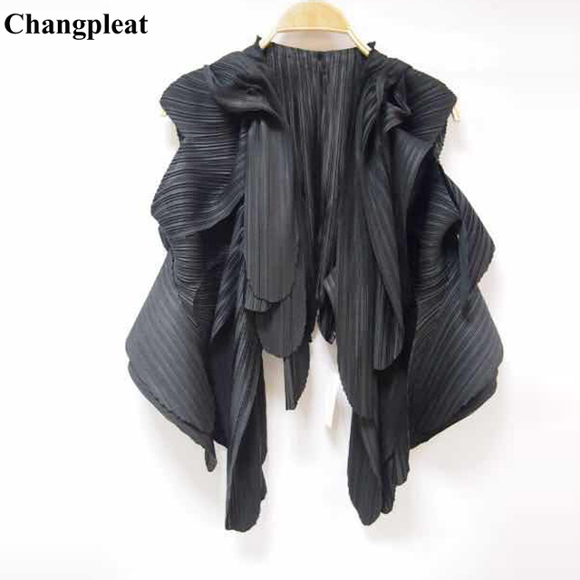 58d7b9dae0519d Changpleat 2019 New fashion Women Outerwear Coats Vest Miyak Pleated Solid Sleeveless  cardigan Vests Tide