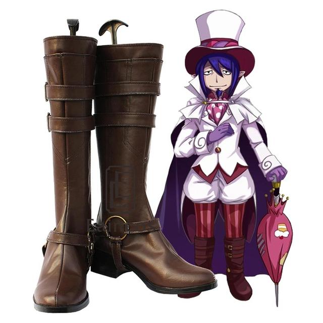 Ao no Exorcist Blue Exorcist Mephisto Pheles Cosplay Zapatos Botas de Color Marrón Oscuro A Medida