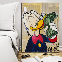 Duck With Cash By Alec Monopolies Canvas Painting Oil Print Living Room Home Decor Modern Wall Art Oil Painting Poster Pictures(China)