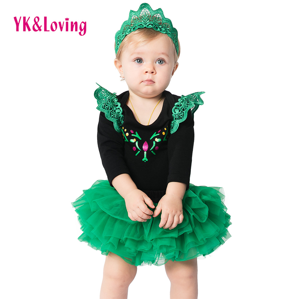 Hot Boutique Princess Baby Girl Clothes Short Sleeve Green Baby Rompers Tutu Skirt Baby Flower Crown