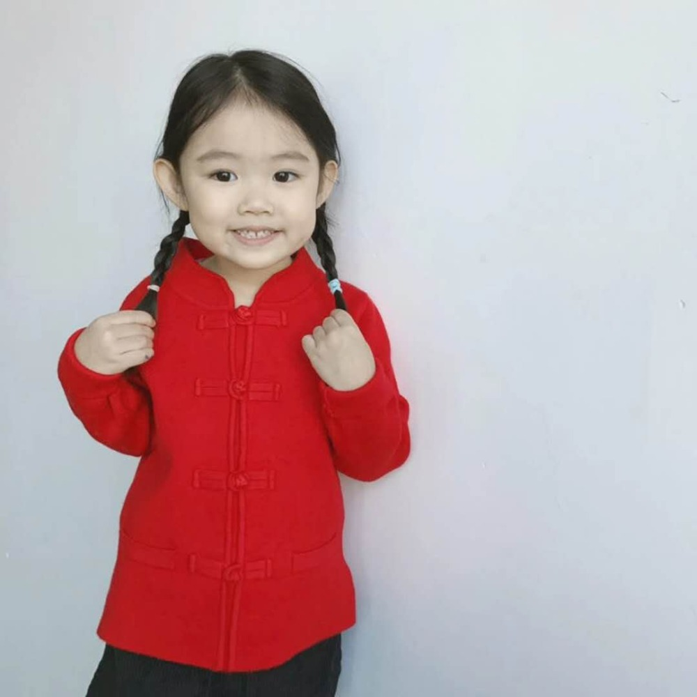 Spring Autumn Winter Children Kids Infant Baby Girl Tang Suit Chinese Style New Year Sweater Coat Children Sweaters Coats Jacket