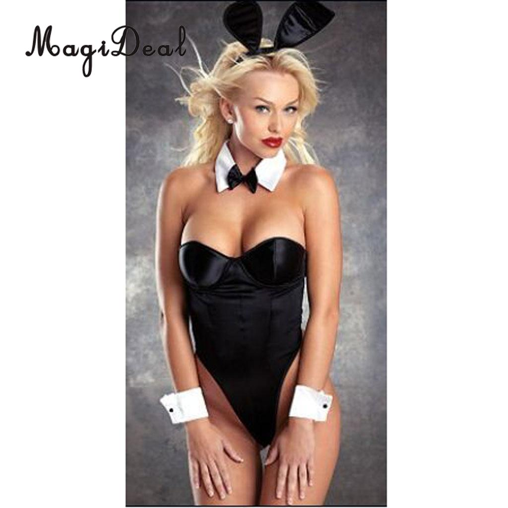 MagiDeal Women Sexy Playful Black White Bunny Rabbit Costume Outfit Cosplay Set Halloween Hen Party Fancy Dress Lady Wife Gifts