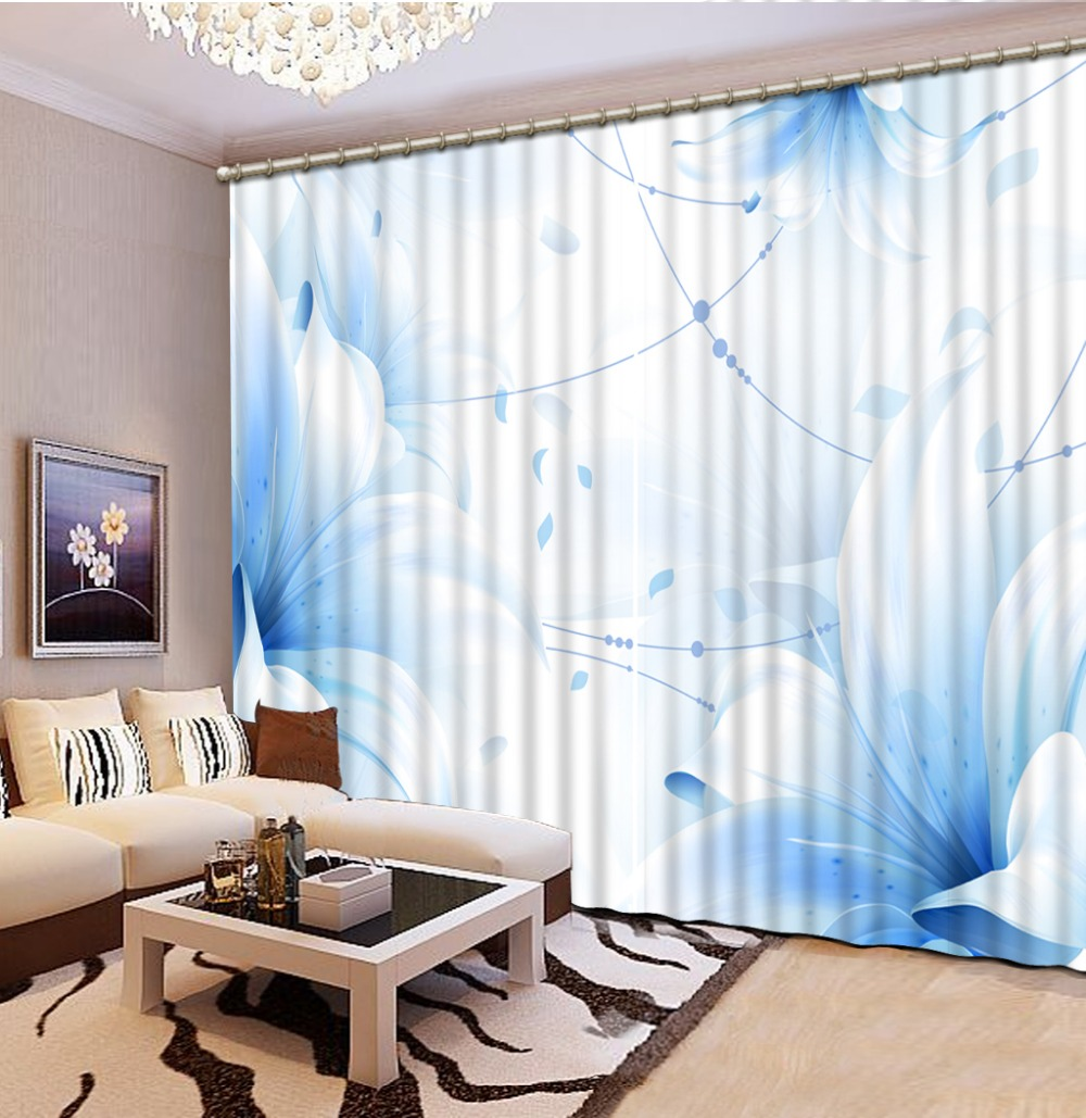 Blue curtains for living room - High Quality Customize Size Modern Blue Flower Custom Curtain Fashion Decor Home Decoration For Bedroom Living Room Curtain