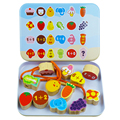 Smart toys diy contas placa de madeira brinquedo do bebê caixa de ferro dos desenhos animados animais blocos juguetes brinquedo educacional montessori presentes