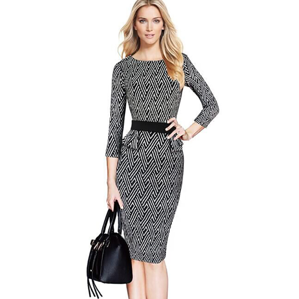 Women Elegant Brief Retro Black White Geometric Belted font b Tartan b font Peplum Ruched Tunic