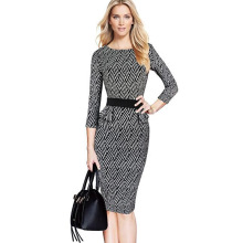 Women Elegant Brief Retro Black White Geometric Belted Tartan Peplum Ruched Tunic Wear to Work Party Bodycon Sheath Pencil Dress