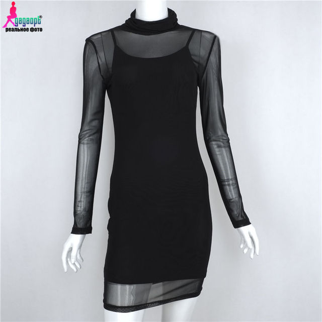 Gagaopt Brand 2017 Perspective Mesh Dress Autumn 2-Piece Hollow Out Sexy Party Dress slim Dress Vestidos Robes
