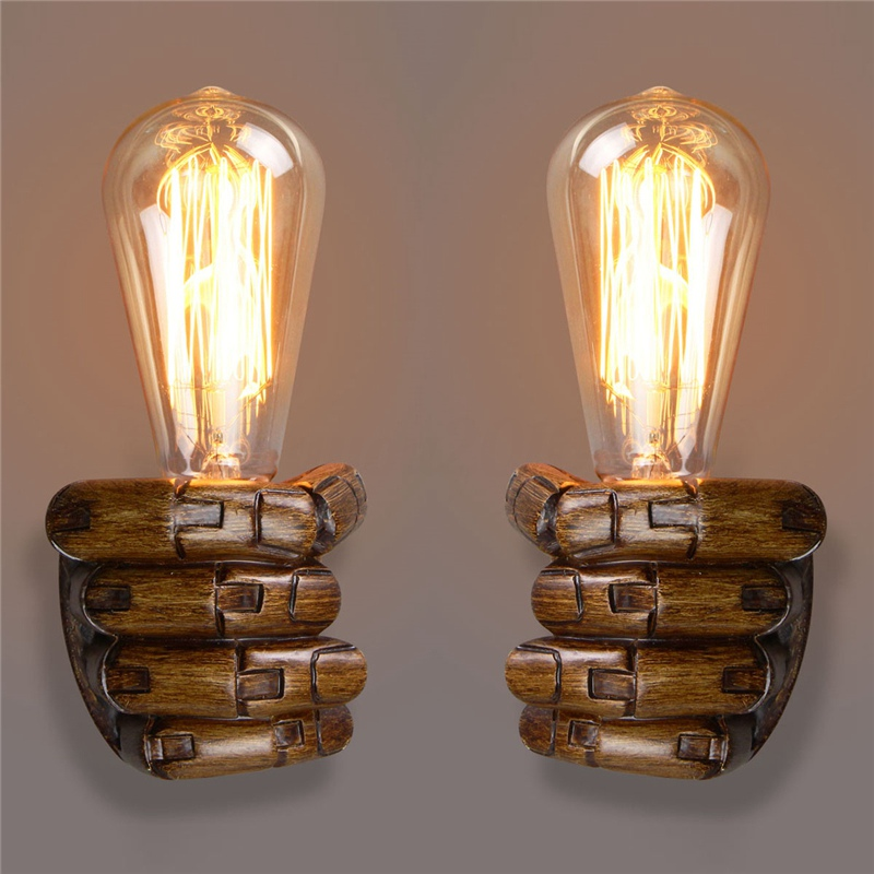 E27 Retro Wall Light Resin Vintage Edison Left/Right Fist Bedroom Restaurant Aisle Cafe Bulbs Lamp Holder M25