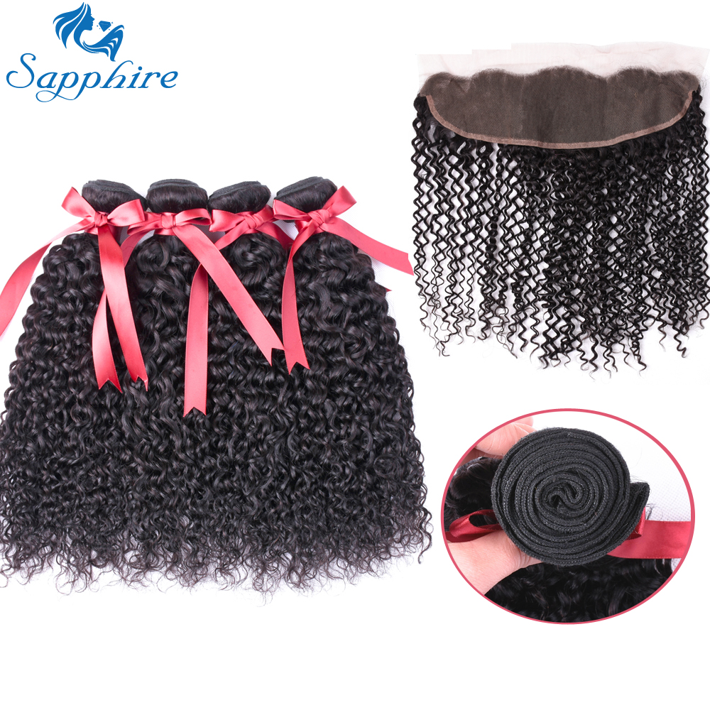 Sapphire Afro Kinky Curly Weave Human Hair Bundles With Lace Frontal Closure Remy Brazilian Hair Weave