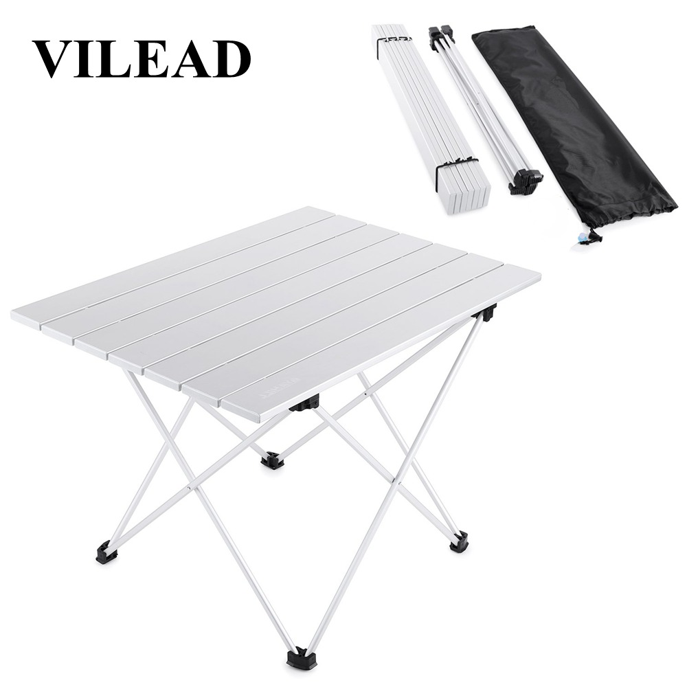 VILEAD 4 Colors Portable Camping Table Aluminum Ultralight Folding Waterproof Outdoor Hiking BBQ Camp Picnic Table Desk Stable