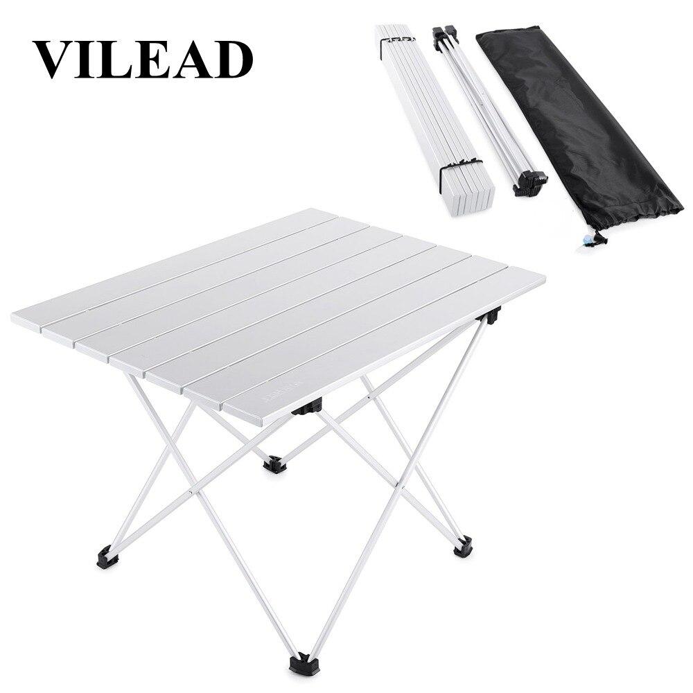 Vilead 4 cores portátil mesa de acampamento alumínio ultraleve dobrável à prova dwaterproof água caminhadas ao ar livre churrasco acampamento piquenique mesa estável