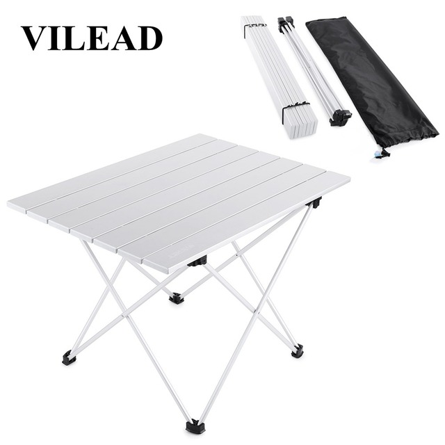 Vilead 4色ポータブルキャンプテーブルアルミ超軽量折りたたみ防水屋外ハイキングバーベキューキャンプピクニックテーブルデスク安定した
