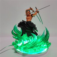 One Piece Zoro Figure 3D Led Night Light One Piece Anime Roronoa Zoro LED Table Lamp Decoration Color Changing with Green Base