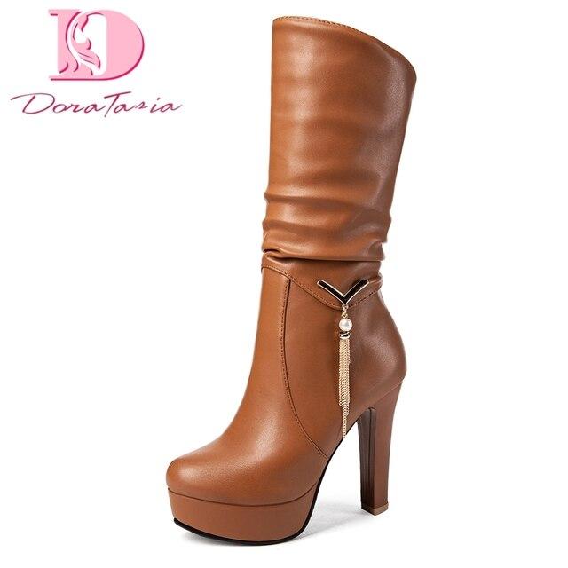 Doratasia artı Boyutu 34-43 Toptan moda platform ayakkabılar Kadın Çizmeler Yüksek Topuklu Ekleyin Kürk Kış Orta Buzağı Çizmeler Kadın ayakkabı