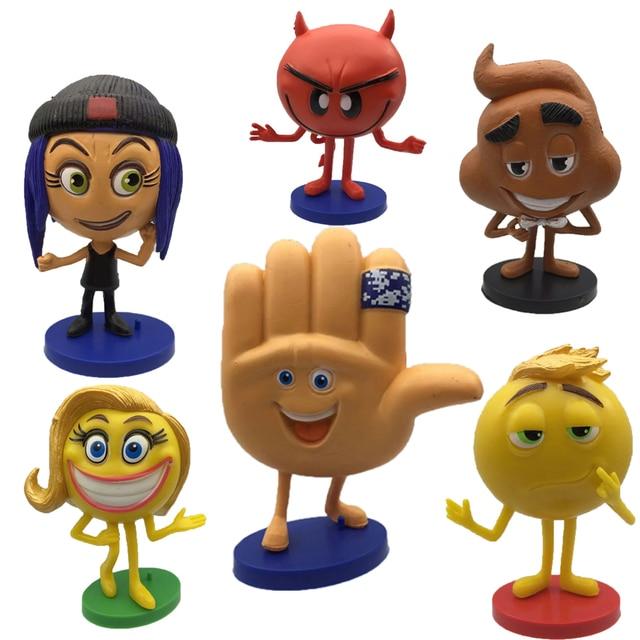 6pcsset 2017 Hot Emoji Movie Action Figures Hi 5 Jailbreak Gene