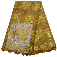 Free shipping (5yards/pc) high quality African guipure lace yellow sequins lace fabric with embroidery for party dress WLP974