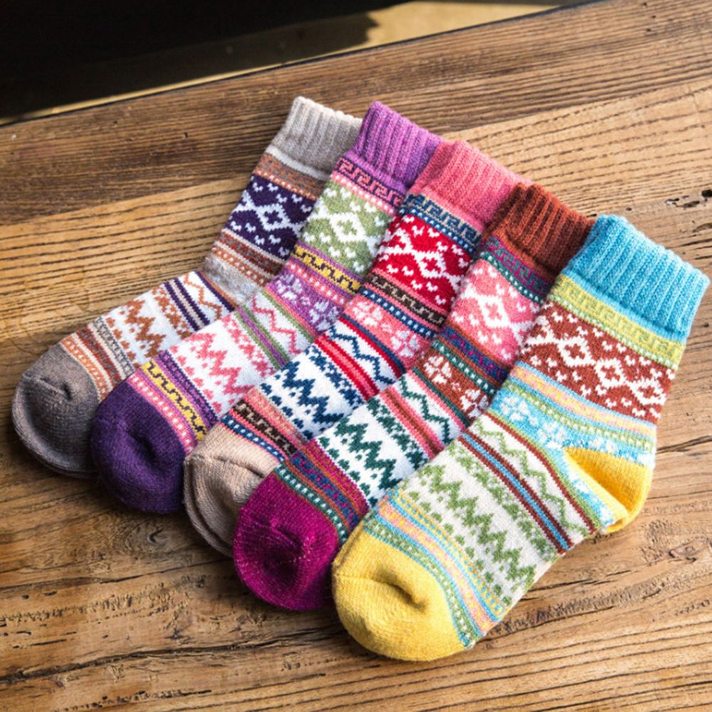 Winter Retro Special Ethnic Style Thermal Woolen Socks High Tube Thickening Warm Soft Rabbit Wool Assorted Color Women Socks