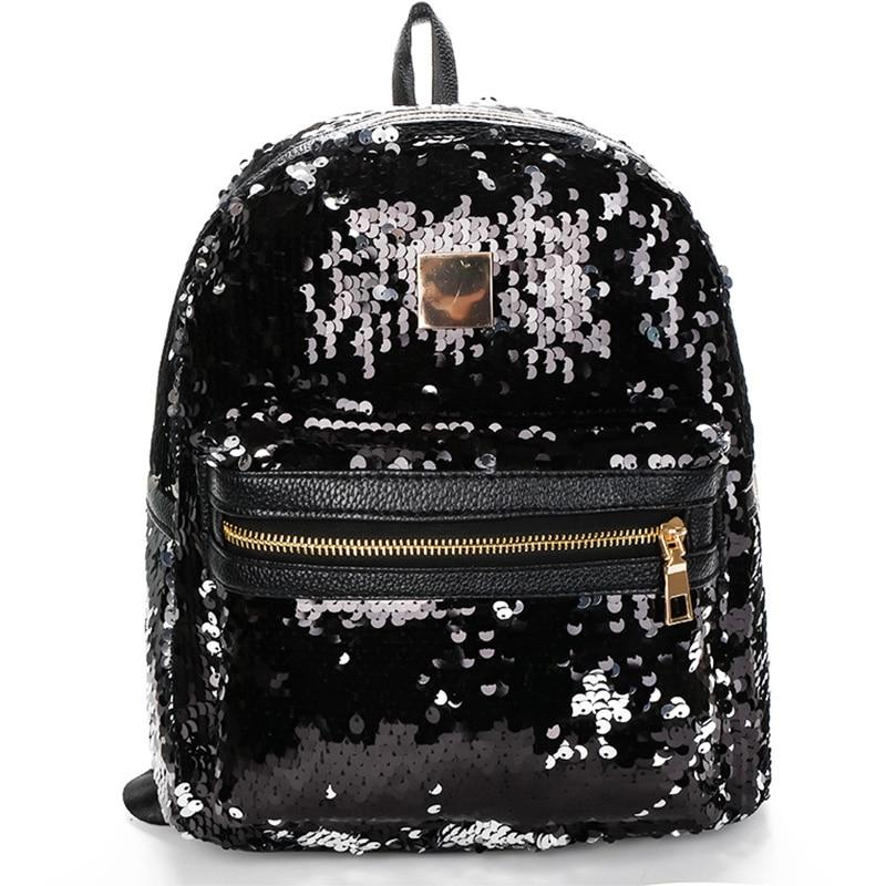 Women Backpack Leather Female Teenage Backpacks For Girls Fashion Zipper Black Sequins Luxury Designer Backpack For School Bags