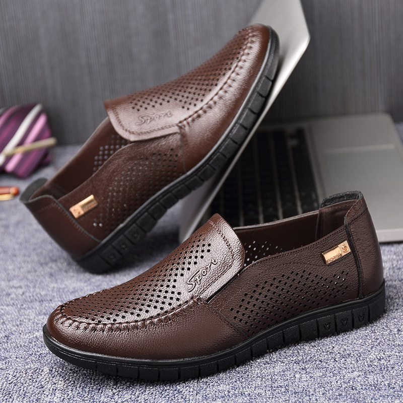 2019 novel and unique spring and summer new men 39 s cool leather shoes leather casual hollow soft bottom soft father shoes in Men 39 s Casual Shoes from Shoes