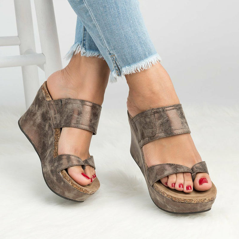 1c8f11395941 Wedges Shoes For Women Sandals Plus Size High Heels Summer Shoes 2019 Flip  Flop Chaussures Femme Platform Sandals Wedge Slippers