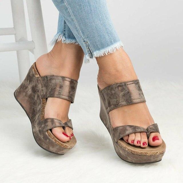 Takozlar Ayakkabı Kadın Sandalet Artı Boyutu Yüksek Topuklu Yaz Ayakkabı 2019 Flip Flop Chaussures Femme platform sandaletler Kama Terlik