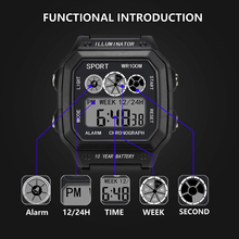 Casual Sports LED Watch Square shape Retro Digital Display Date Quartz Electronics Men Clock Wristwatch Relogio Masculino