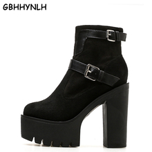 GBHHYNLH Fashion Ankle Boots Platform Shoes Round Toe winter Thick High Heels snow shoes Buckle Punk Women LJA491