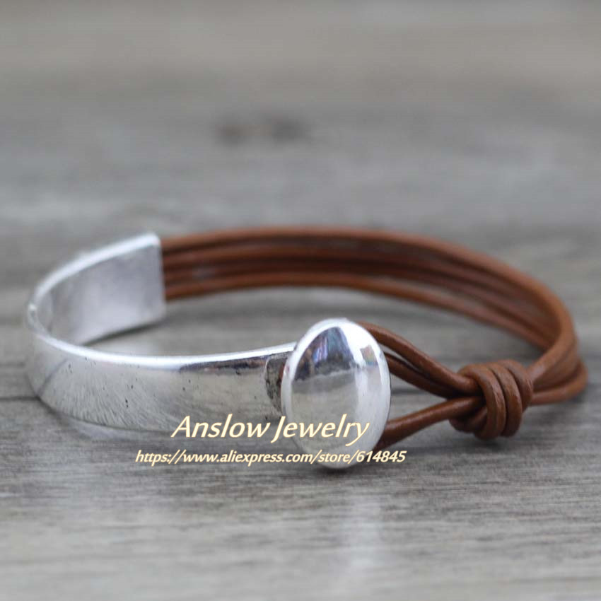 Anslow 2017 Trendy Classoc Men Jewelry Handmade Vintage Mens Leather Bracelet Bangle Mother's Day Birthday Gift LOW0466LB image