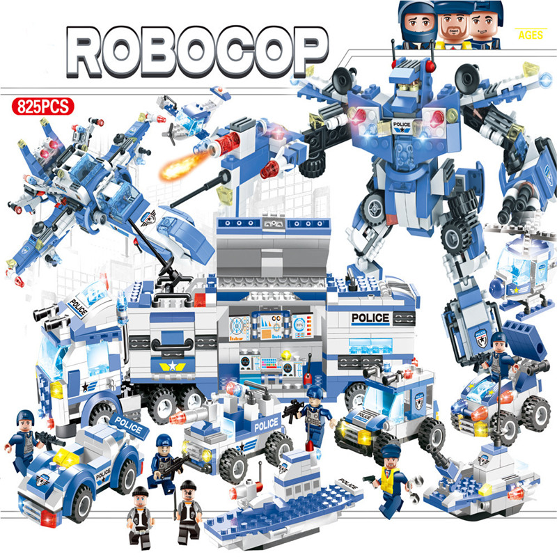 825Pcs 8IN1 City Police SWAT ROBOCOP War Generals Robot Car Compatible LegoINGs Building Blocks Sets Playmobil Toys for Children