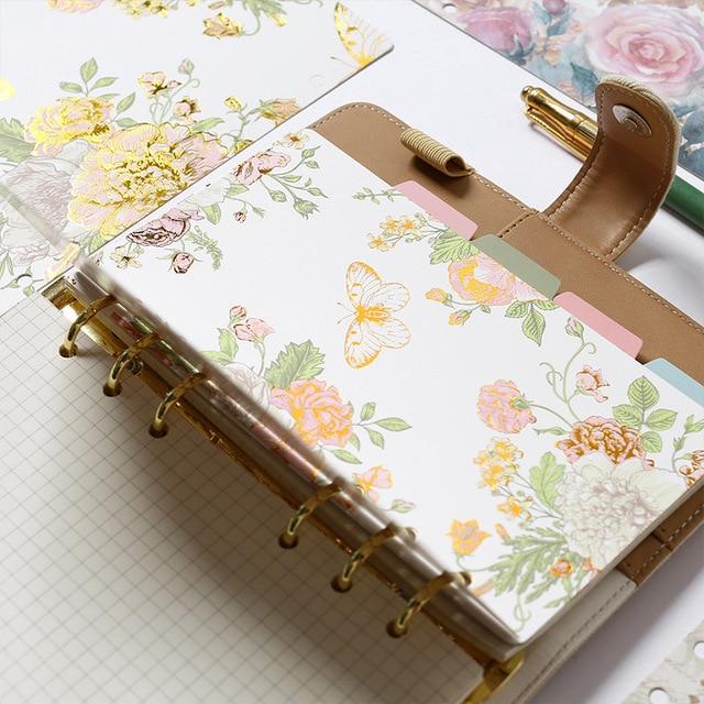 Creative Vintage Flower Spiral Notebook Index Pages 6 Holes
