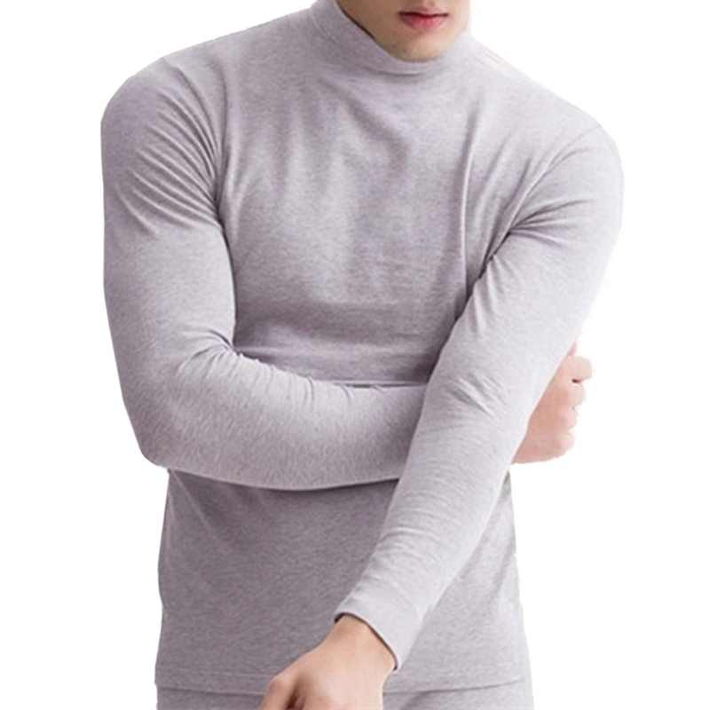 Algodón ropa interior térmica hombres elástico cuello alto Long Johns Tops Turtleneck manga larga hombres camisetas hombre