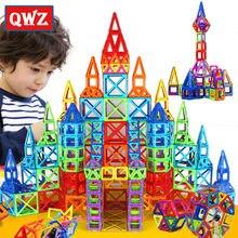 QWZ 164 adet Mini manyetik tasarımcı inşaat seti modeli ve bina oyuncak plastik manyetik bloklar eğitici oyuncaklar çocuklar için hediye