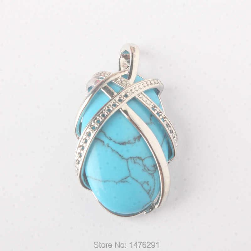 37x23 มิลลิเมตร Chic ธรรมชาติโอปอล Rose Aventurine Lapis Turquoises สีฟ้าหินลูกปัดรูปไข่จี้ 1 ชิ้น (ไม่มีห่วงโซ่)