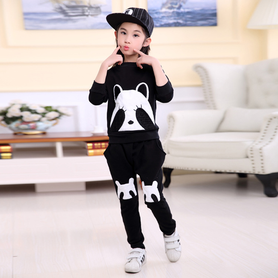 Girls Sets Outfits Boys Clothing Set Brand Baby Girls Winter Clothes Kids Tracksuit Velour Fleece Cartoon Children Sets 2Colors 2017 new children clothing sets baby girls boys winter warm clothes 2pcs cute panda velvet christmas outfits suit shirt pant