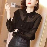 Новинка 2019 года, женская шелковая Однотонная рубашка на пуговицах с отложным воротником и длинными рукавами черного цвета